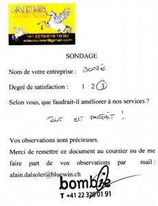 Témoigange BOMBIK, client ADS Coursier à Genève
