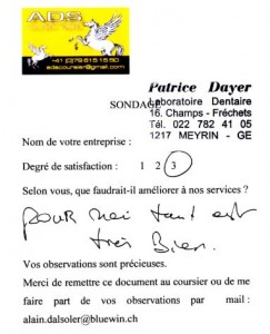 Témoigange du laboratoire Dentaire de Patrice DAYER, client ADS Coursier à Genève